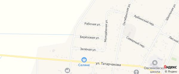 Березовая улица на карте села Овсянки с номерами домов