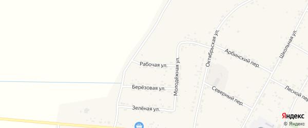 Рабочая улица на карте села Овсянки с номерами домов