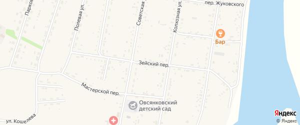 Зейский переулок на карте села Овсянки с номерами домов