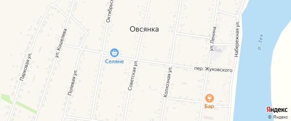 Переулок Жуковского на карте села Овсянки с номерами домов
