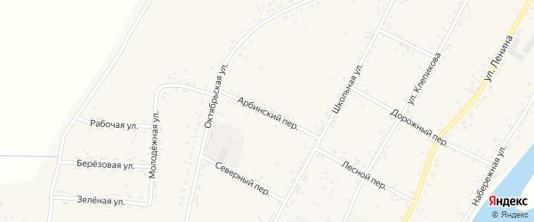 Арбинский переулок на карте села Овсянки с номерами домов