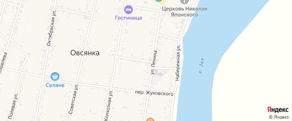 Пионерский переулок на карте села Овсянки с номерами домов