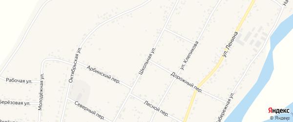Школьная улица на карте села Овсянки с номерами домов