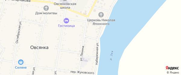 Южный переулок на карте села Овсянки с номерами домов