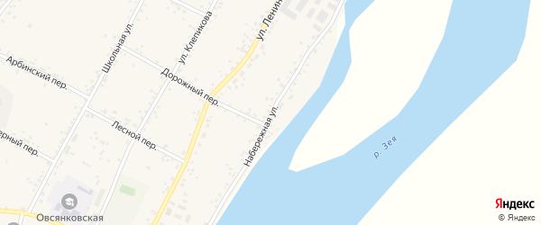 Набережная улица на карте села Овсянки с номерами домов