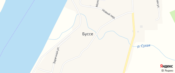 Набережная улица на карте села Буссе с номерами домов