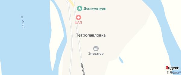 Центральная улица на карте села Петропавловки с номерами домов