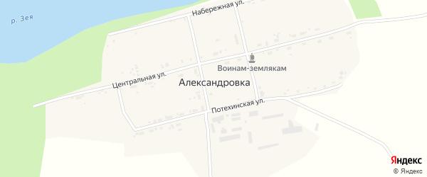 Школьная улица на карте села Александровки с номерами домов