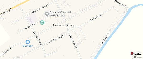 Строительная улица на карте села Соснового Бора с номерами домов