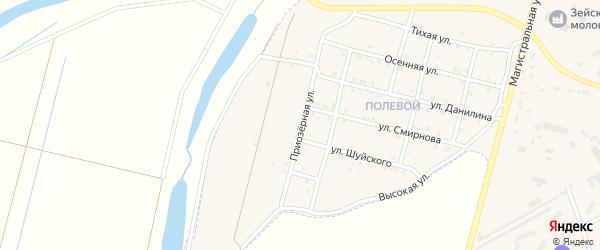 Приозерная улица на карте Зеи с номерами домов
