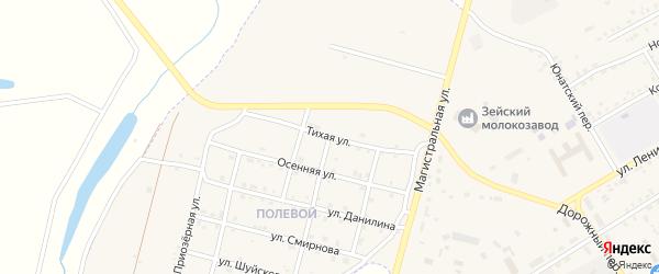 Тихая улица на карте Зеи с номерами домов