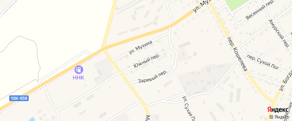 Южный переулок на карте Зеи с номерами домов
