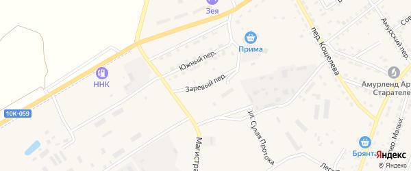 Заревый переулок на карте Зеи с номерами домов