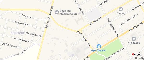 Дорожный переулок на карте Зеи с номерами домов