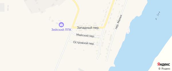 Майский переулок на карте Зеи с номерами домов
