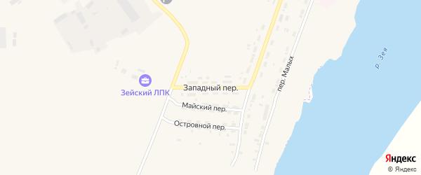 Западный переулок на карте Зеи с номерами домов