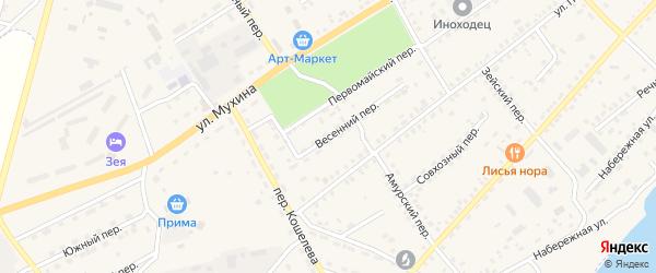 Весенний переулок на карте Зеи с номерами домов