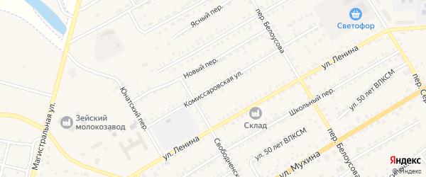 Комиссаровская улица на карте Зеи с номерами домов