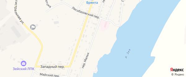 Переулок Малых на карте Зеи с номерами домов