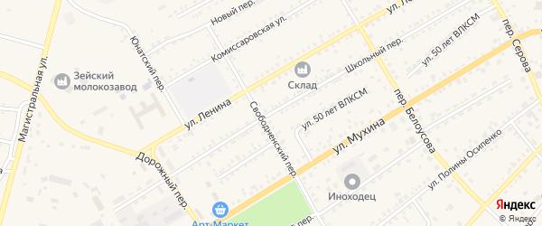 Школьный переулок на карте Зеи с номерами домов
