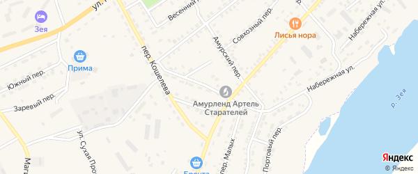 Переулок Сухой Лог на карте Зеи с номерами домов