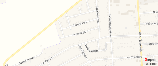 Луговая улица на карте Зеи с номерами домов
