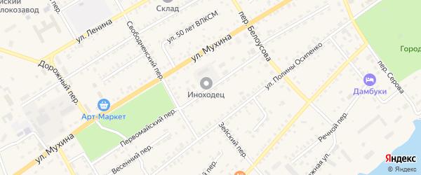 Первомайский переулок на карте Зеи с номерами домов