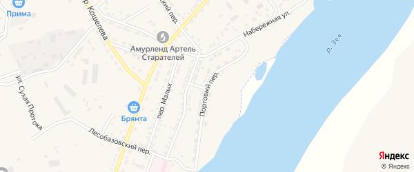 Портовый переулок на карте Зеи с номерами домов