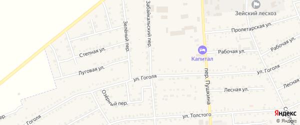 Забайкальский переулок на карте Зеи с номерами домов