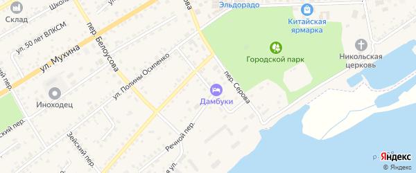 Садовый переулок на карте Зеи с номерами домов