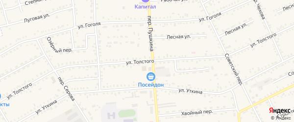 Улица Льва Толстого на карте Зеи с номерами домов