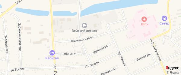 Пролетарская улица на карте Зеи с номерами домов