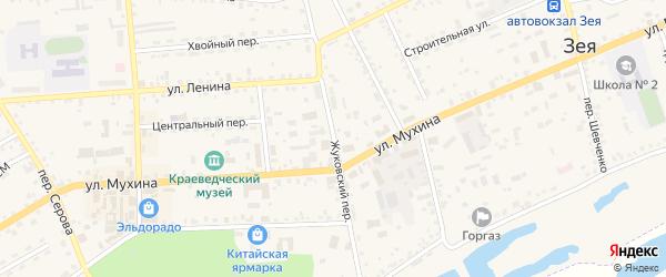 Жуковский переулок на карте Зеи с номерами домов