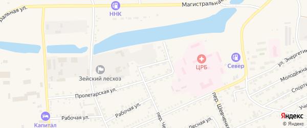 Лесхозный переулок на карте Зеи с номерами домов