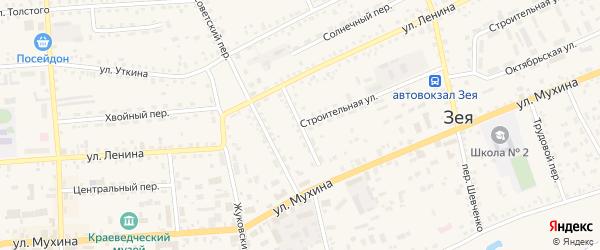 Комсомольский переулок на карте Зеи с номерами домов