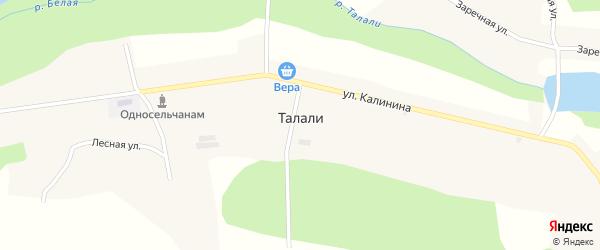 Заречная улица на карте села Талалей с номерами домов
