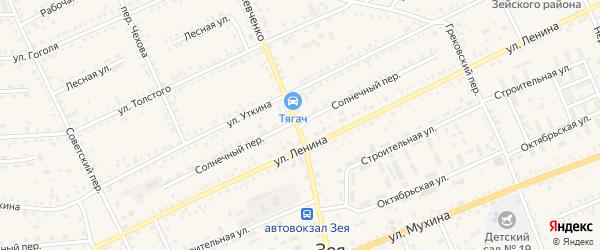 Солнечный переулок на карте Зеи с номерами домов