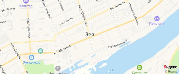 Приозерное СТ на карте Зеи с номерами домов