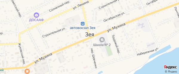 Юннатский переулок на карте Зеи с номерами домов