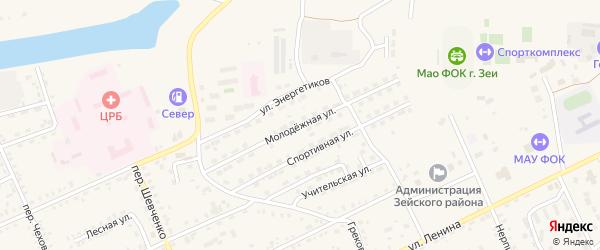 Молодежная улица на карте Зеи с номерами домов