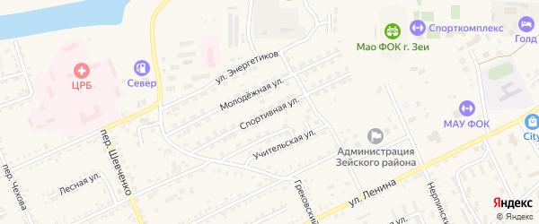 Спортивная улица на карте Зеи с номерами домов