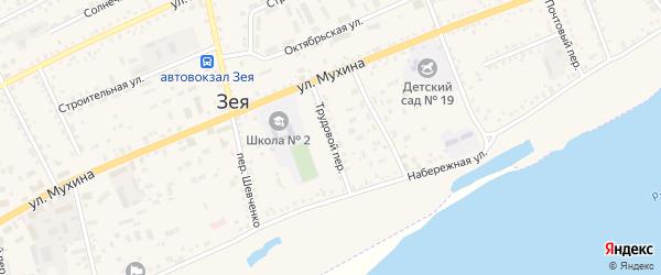 Трудовой переулок на карте Зеи с номерами домов