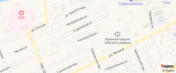 Учительская улица на карте Зеи с номерами домов
