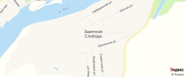 Карта села Заречной Слободы в Амурской области с улицами и номерами домов