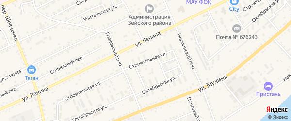 Строительная улица на карте Зеи с номерами домов