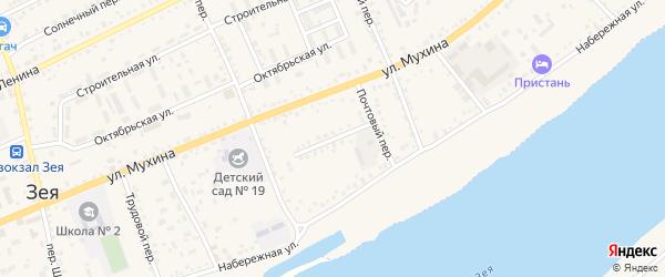 Песчаный переулок на карте Зеи с номерами домов