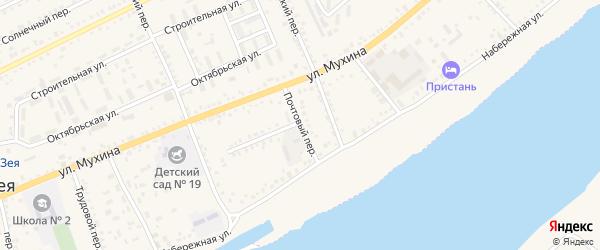 Почтовый переулок на карте Зеи с номерами домов