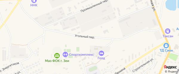 Угольный переулок на карте Зеи с номерами домов