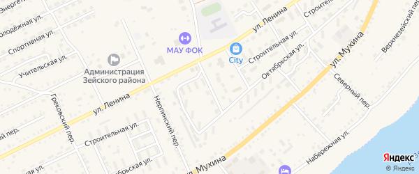 Сиреневый переулок на карте Зеи с номерами домов