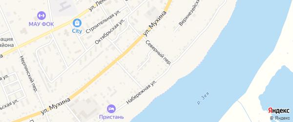 Береговой переулок на карте Зеи с номерами домов